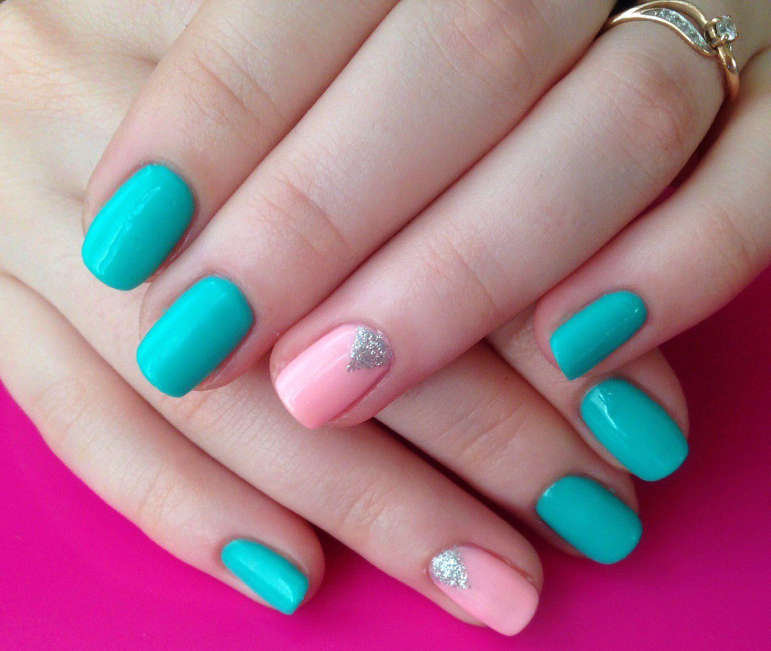 стиль одежде ногти бирюзовые с розовым фото выступление