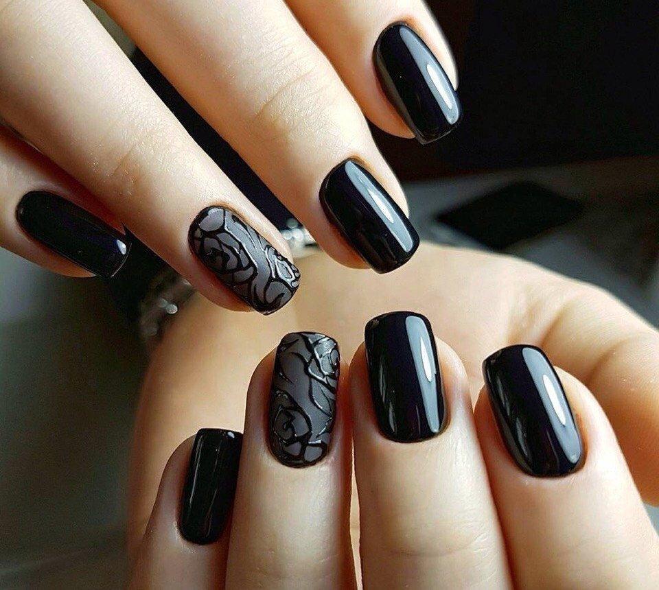 Картинки черных ногтей глянцевых