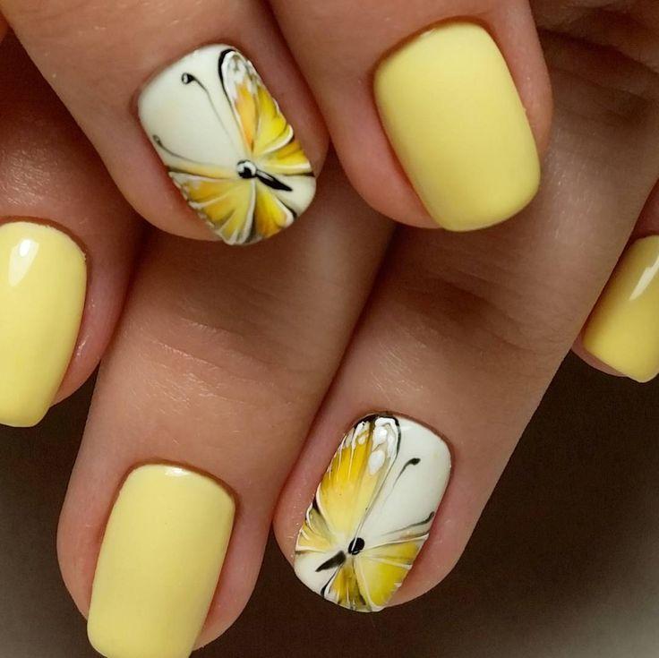 дизайн ногтей в желтом цвете фото